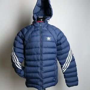 SOLD Adidas Puffer Jacket Blue Size M Hooded